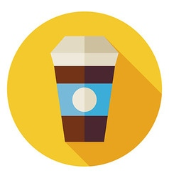 Flat Hot Drink Coffee Cup Circle Icon with Long vector image vector image