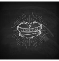 heart ribbon and burst light rays emblem vector image