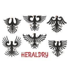 Heraldic black eagles with raised wings vector image vector image