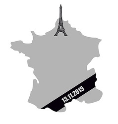 Map of France with black mourning Ribbon Mourning vector image