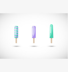 popsicle flat icons set vector image vector image