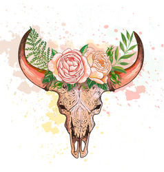skull of a cow with horns decorated with flowers vector image