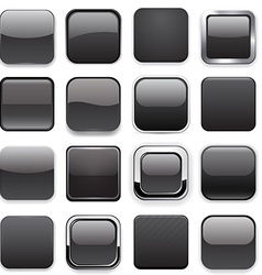 Square black app icons vector image vector image