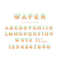 wafer font cute sweet letters and numbers can be vector image vector image