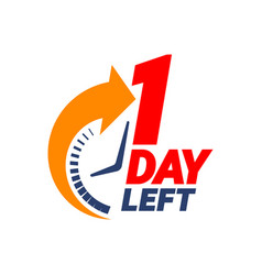 1 day left countdown banner vector