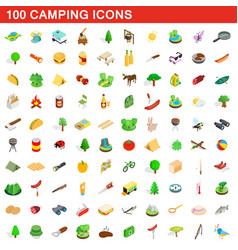 100 camping icons set isometric 3d style vector