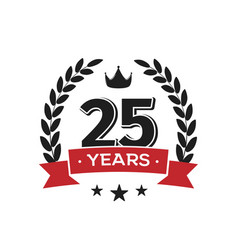 25 th birthday vintage logo template twenty fifth vector image