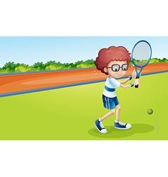 A boy holding racket vector