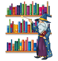 A wizard holding a wand in front of the shelves vector image
