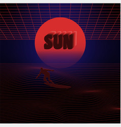 abstract surfing sun vector image