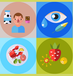 Allergy symbols disease healthcare tablets viruses vector