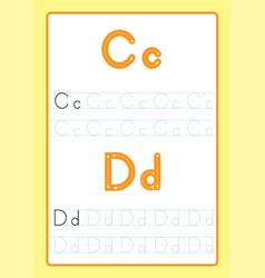 Alphabet letters tracing worksheet vector