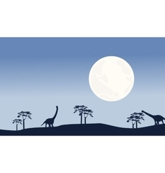 At night argentinosaurus scenery silhouettes vector image