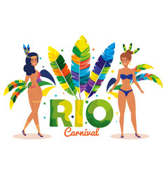 Beautiful brazilian garotas couple characters vector
