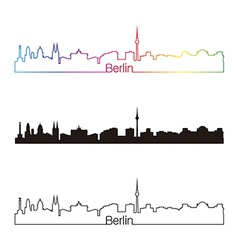 Berlin skyline linear style with rainbow vector image