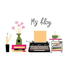 Blog banner with typing machine and books vector image