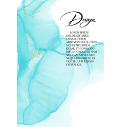 blue gold luxury design watercolor liquid splash vector image