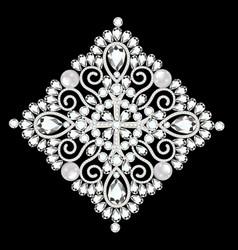 Brooch vintage with precious stones glamour vector