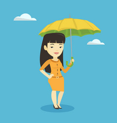 business woman insurance agent with umbrella vector image
