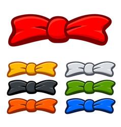 cartoon bows and bow ties various colors vector image