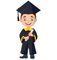 Cartoon boy in graduation costume vector