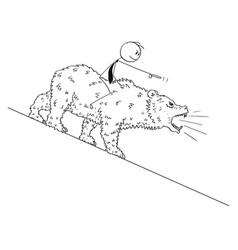 Cartoon drawing of businessman riding on bear as vector