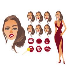 Cartoon woman sexy red lips creation set vector