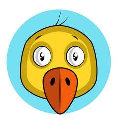 cartoon yellow bird with orang beak on white vector image