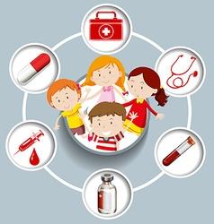 Children and medical symbols vector