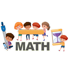 children with math tools vector image