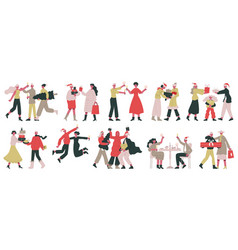 christmas celebrating characters cartoon people vector image