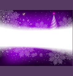 christmas purple background with snowflakes balls vector image