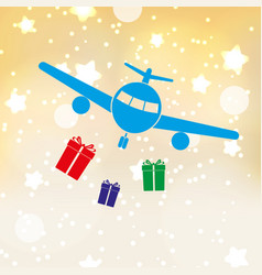 Christmas stars background with airplane and vector