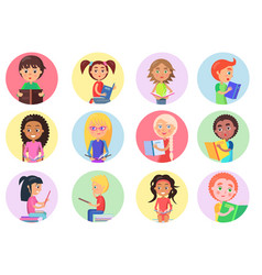 color icons with reading boys and girls on white vector image