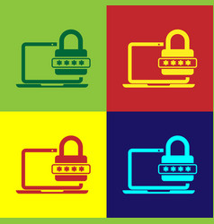 color laptop with password notification and lock vector image