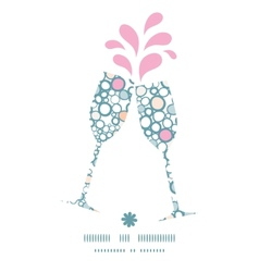 Colorful bubbles toasting wine glasses silhouettes vector