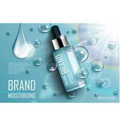 Cosmetic essence contained in a droplet bottle vector