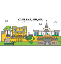 Costa rica san jose outline city skyline linear vector