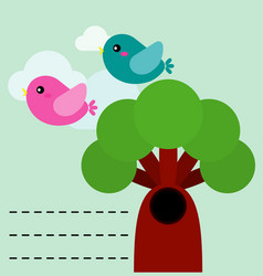 cute birds with tree vector image