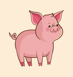 cute pig wildlife image vector image