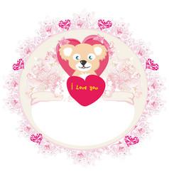 cute teddy bear with heart frame vector image
