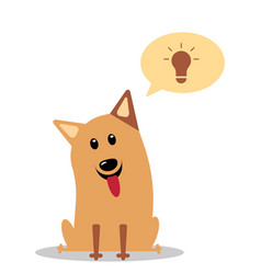 Dog having great ideas showing a glowing lightbulb vector