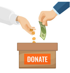 Donate sign on cardboard box with money vector