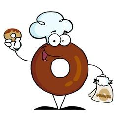 Donut cartoon character holding a donut vector