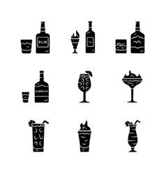 Drinks glyph icons set rum absinwhiskey vector