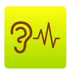 ear hearing sound sign brown icon at vector image
