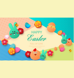 easter card with rabbit and chickens spring vector image
