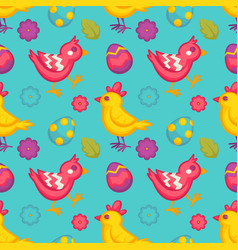 easter seamless pattern eggs and birds chicken vector image