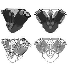 Engine v twin colored front view vector