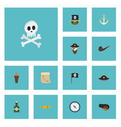 Flat icons corsair banner treasure map and other vector